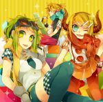 1boy 2girls bangs blonde_hair blue_eyes blue_legwear blue_scarf breasts buttons checkered colorful cup disposable_cup drink fang gloves goggles goggles_on_head green_eyes green_hair gumi hair_ornament hairclip haru_(oomr005) headphones horns kagamine_len kagamine_rin multiple_girls necktie one_eye_closed open_mouth orange_legwear pantyhose red_scarf scarf short_sleeves shorts skirt sparkle striped striped_background thigh-highs tongue vocaloid yellow_background yellow_scarf