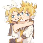 1boy 1girl aqua_eyes arm_warmers arms_around_neck arms_around_waist bangs bare_shoulders black_collar black_sleeves blonde_hair bow closed_mouth collar expressionless from_side grey_collar grey_sleeves grin hair_bow hair_ornament hairclip headphones highres hug kagamine_len kagamine_rin looking_at_viewer looking_to_the_side m0ti neckerchief necktie sailor_collar school_uniform shirt short_hair short_ponytail short_sleeves sleeveless sleeveless_shirt smile spiky_hair swept_bangs twitter_username upper_body vocaloid white_background white_bow white_shirt yellow_neckwear
