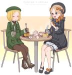 2girls :d :t abigail_williams_(fate/grand_order) bangs beret black_bow black_dress black_footwear black_headwear blonde_hair blue_eyes blush boots bow brown_gloves brown_legwear bug butterfly chair character_name closed_eyes closed_mouth collared_jacket commentary_request cup dress eating fate/grand_order fate_(series) food fork gloves green_headwear green_jacket hair_bow hat holding holding_fork holding_knife insect jacket knife kopaka_(karda_nui) long_hair long_sleeves mary_janes multiple_girls on_chair open_mouth orange_bow pancake pantyhose parted_bangs paul_bunyan_(fate/grand_order) plate polka_dot polka_dot_bow shoes sitting smile stack_of_pancakes table teacup teapot very_long_hair