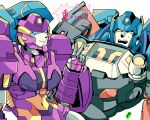 1boy 1girl at1059 autobot blue_eyes looking_to_the_side nautica no_humans open_mouth skids_(transformers) surprised transformers v yellow_eyes