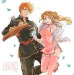 1boy 1girl bleach bracelet breasts brown_eyes china_dress chinese_clothes cowboy_shot double_bun dress feather_boa hair_ornament hairpin hara_hikaru holding holding_weapon inoue_orihime jewelry kurosaki_ichigo large_breasts long_hair looking_at_viewer open_mouth petals pink_dress pink_legwear sidelocks simple_background teeth thigh-highs weapon white_background