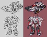 1boy clenched_hands dated decepticon english_commentary ground_vehicle highres lineart looking_down megatron military military_vehicle motor_vehicle multiple_views no_humans red_eyes redesign tank transformers xxx1320