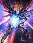 amasaki_yusuke battle beam_rifle commentary_request destiny_gundam energy_gun explosion firing gundam gundam_seed gundam_seed_destiny highres looking_at_viewer mecha mechanical_wings no_humans signature solo weapon wings
