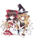 2girls apron bangs black_headwear bow broom brown_eyes closed_mouth detached_sleeves eyebrows_visible_through_hair frilled_apron frilled_bow frilled_hair_tubes frills green_ribbon hair_between_eyes hair_bow hair_tubes hakurei_reimu hat hat_bow holding holding_broom kirisame_marisa long_sleeves marker_(medium) midriff multiple_girls neck_ribbon pleated_skirt red_bow red_shirt red_skirt ribbon ribbon-trimmed_sleeves ribbon_trim shirt short_sleeves simple_background skirt sleeveless sleeveless_shirt smile standing stomach touhou traditional_media uro_(m369) waist_apron white_apron white_background white_bow white_shirt white_sleeves wide_sleeves witch_hat