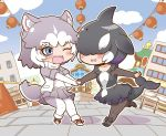 2girls animal_ear_fluff animal_ears bangs black_hair blowhole blue_eyes bodystocking bow chibi collarbone collared_dress commentary_request covered_eyes day dog_(mixed_breed)_(kemono_friends) dog_ears dog_girl dog_tail dolphin_tail dorsal_fin dress eyebrows_visible_through_hair face-to-face fisheye frilled_dress frills full_body fur_trim gerotan grey_hair hair_over_eyes head_fins holding_hands jacket kemono_friends lantern long_sleeves looking_at_another medium_hair miniskirt multicolored_hair multiple_girls one_eye_closed open_mouth orca_(kemono_friends) outdoors outstretched_arms pleated_skirt pulled_by_another pulling purple_hair running shoes short_dress short_over_long_sleeves short_sleeves skirt smile sweater_vest tail two-tone_hair upper_teeth white_hair