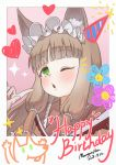 1girl animal_ear_fluff animal_ears bangs blunt_bangs blush border brown_hair dated english_text green_eyes hair_ornament hair_tubes hand_up happy_birthday highres index_finger_raised looking_at_viewer maho_(princess_connect!) mountain_han one_eye_closed parted_lips princess_connect! princess_connect!_re:dive signature solo upper_body white_border