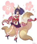 1girl :d animal_ear_fluff animal_ears arm_at_side bell fang fox_ears fox_shadow_puppet fox_tail full_body geta hand_up highres inu_no_sakuya japanese_clothes jingle_bell kitsune kotatsu_(g-rough) long_sleeves looking_at_viewer multiple_tails open_mouth ponytail puffy_shorts purple_hair short_eyebrows shorts signature smile solo tail tassel tengu-geta thick_eyebrows wide_sleeves yellow_eyes