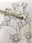 1girl autobot chibi english_commentary highres ink_(medium) lineart looking_down multiple_boys nautica navel no_humans pen photo skids_(transformers) traditional_media transformers zoner