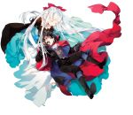 1boy 1girl absurdres age_regression belt black_gloves black_hair boots cape collar comta cross-laced_footwear dress elf formal gloves grey_eyes hair_ribbon highres lace-up_boots long_dress long_hair maou_no_ore_ga_dorei_elf_wo_yome_ni_shitanda_ga_dou_medereba_ii? metal_collar nefelia official_art pointy_ears red_cape ribbon suit very_long_hair white_background white_gloves white_hair white_legwear younger zagan_(maou_no_ore_ga)