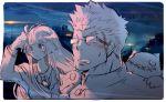 1boy 1girl bangs blush breasts close-up frown gakuran glasses long_hair master_2_(tokyo_houkago_summoners) nikism partially_colored school_uniform shiro_(tokyo_houkago_summoners) sketch surprised tokyo_houkago_summoners uncolored upper_body