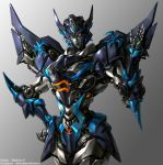 1girl blue_lips borrowed_character decepticon glowing glowing_eyes grey_background hand_on_hip kim_yura_(goddess_mechanic) looking_at_viewer mecha mechanical_wings open_hand original solo transformers twitter_username wings yellow_eyes