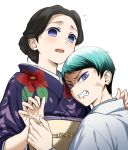 1boy 1girl anger_vein angry black_hair blue_hair clenched_teeth commentary_request fangs floral_print hair_bun japanese_clothes kimetsu_no_yaiba kimono lavender_eyes looking_at_viewer no_pupils print_kimono purple_kimono shirokinakochan simple_background slit_pupils surprised sweatdrop tamayo_(kimetsu_no_yaiba) teeth upper_body violet_eyes white_background yushiro_(kimetsu_no_yaiba)
