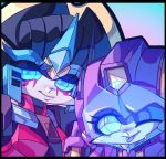 2girls autobot blue_eyes chibi close-up commission light_smile lilinapocalypse looking_to_the_side multiple_girls nautica no_humans one_eye_closed tongue tongue_out transformers visor windblade