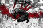 1boy animal black_nails bleeding blood blood_on_face bloody_weapon bug centipede checkered dated fingernails flower greyscale hands_on_head impaled injury kaneki_ken kneeling liyou-ryon male_focus monochrome muscle polearm red_flower screaming signature solo spear spider_lily spot_color teeth tokyo_ghoul weapon white_flower white_hair