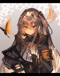 1girl armband bangs black_border black_gloves border brown_hair bug butterfly eyebrows_visible_through_hair fingerless_gloves girls_frontline gloves gun h&k_ump45 hair_between_eyes highres holding holding_gun holding_weapon insect jacket long_hair one_side_up orange_eyes scar scar_across_eye smile solo soukou_makura ump45_(girls_frontline) weapon