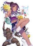 2boys 2girls :q bangs blue_skirt brown_eyes cheerleader crop_top dark_skin dark_skinned_male fairy fairy_wings flag flying hair_bun hair_ornament hair_scrunchie highres holding holding_flag isekai_shuugaku_ryokou looking_at_viewer midriff minigirl multiple_boys multiple_girls navel official_art one_eye_closed open_mouth orange_hair parted_bangs pleated_skirt pom_poms purple_hair purple_skirt scrunchie shirabi shoes simple_background skirt smile socks sparkle standing standing_on_one_leg tongue tongue_out twintails white_background white_footwear white_legwear wings wristband