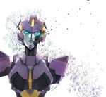 1girl autobot blue_eyes damaged english_commentary flower looking_up missing_limb nautica no_humans purple_lips sad solo transformers white_background zoner