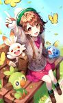 1girl :d absurdres arm_up bangs bench blush bob_cut brown_eyes brown_footwear brown_hair bug butterfly cardigan dress gen_8_pokemon grass green_headwear green_legwear grey_cardigan grookey ha_youn hat highres holding holding_poke_ball insect leaf long_sleeves looking_at_viewer open_mouth pink_dress poke_ball poke_ball_(basic) pokemon pokemon_(creature) pokemon_(game) pokemon_swsh scorbunny short_hair sitting smile sobble socks solo tam_o'_shanter yuuri_(pokemon)