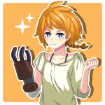 1girl blue_eyes braid chalm clenched_hand decadence_(anime) hand_up highres looking_at_viewer natsume_(decadence) orange_background orange_hair pixel_art prosthesis prosthetic_arm shirt short_hair smile solo upper_body white_shirt