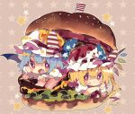 2girls :t american_flag american_flag_print ascot bat_wings blonde_hair blue_hair blush_stickers bow commentary crystal fang flag_print flandre_scarlet food food_on_face food_on_head hamburger hand_up hat hat_bow highres in_food long_hair looking_at_viewer mini_flag mob_cap multiple_girls nikorashi-ka object_on_head open_mouth oversized_food pointy_ears red_eyes red_neckwear remilia_scarlet shirt short_sleeves siblings sisters star-shaped_pupils star_(symbol) star_print starry_background symbol-shaped_pupils touhou white_headwear white_shirt wings wrist_cuffs