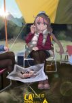 1girl :d black_legwear blue_eyes blush camping closed_mouth eyebrows_visible_through_hair hair_between_eyes hat highres kagamihara_nadeshiko long_hair long_sleeves looking_at_viewer open_mouth pantyhose pink_hair sakurami_sumi scarf smile solo twintails yurucamp