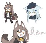 anger_vein angry animal_ears beret black_headwear blood cat_ears cat_tail furry girls_frontline green_eyes hair_ornament hat hk416_(girls_frontline) jacket necktie open_clothes open_jacket open_mouth patch prosthesis scar scar_across_eye shirt side_ponytail sketch skirt tail tied_shirt ump45_(girls_frontline) white_shirt zocehuy