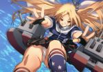 1girl aa_gun american_flag american_flag_legwear american_flag_print azur_lane bangs black_gloves black_skirt blonde_hair blue_background blue_jacket breasts capelet cleveland_(azur_lane) commentary_request cowboy_shot fingerless_gloves flag_print floating_hair fu-ta gloves grin hair_ornament jacket kneehighs long_hair looking_at_viewer miniskirt multicolored multicolored_clothes multicolored_legwear outstretched_arms panties pantyshot parted_bangs red_eyes rigging side-tie_panties side_ponytail skirt small_breasts smile socks solo star_(symbol) star_print turret underwear white_capelet white_panties