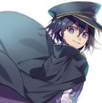 1boy bangs black_cape black_hair black_headwear blurry blurry_background cape checkered checkered_scarf commentary_request danganronpa eyebrows_visible_through_hair from_side hair_between_eyes hat highres huyuharu0214 jacket long_sleeves looking_at_viewer male_focus multicolored_hair new_danganronpa_v3 ouma_kokichi parted_lips peaked_cap purple_hair scarf signature smile straitjacket teeth two-tone_hair violet_eyes white_background white_jacket