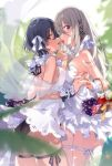 2girls backless_outfit bangs bare_shoulders basket black_hair black_panties blue_eyes bracelet breasts brown_eyes detached_collar dress eyebrows_visible_through_hair food fruit grey_hair hair_ribbon halter_dress highres holding_hands jewelry long_hair looking_at_viewer medium_breasts mouth_hold multiple_girls original panties pearl_bracelet ribbon short_hair strapless strapless_dress thigh_ribbon u35 underwear white_dress white_panties wrist_cuffs