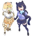 2girls ahoge animal_ears animal_print arm_at_side bangs belt black_hair black_jaguar_(kemono_friends) blonde_hair blush bow bowtie breast_pocket breasts brown_hair cat_girl collaboration commentary_request eating elbow_gloves eyebrows_visible_through_hair food food_on_face full_body fur_scarf gloves hair_between_eyes hand_up happy holding holding_food jaguar_(kemono_friends) jaguar_ears jaguar_girl jaguar_print jaguar_tail japari_bun kemono_friends medium_hair miniskirt multicolored_hair multiple_girls ogami_tadashina open_mouth outstretched_arm outstretched_hand pocket print_gloves print_legwear print_scarf print_skirt purple_shirt scarf shirt shoes short_sleeves simple_background skirt smile spread_fingers standing tail thigh-highs tmtkn1 v-shaped_eyebrows white_background white_hair white_shirt zettai_ryouiki