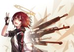 1girl :d arknights arm_up bangs black_gloves black_shirt energy_wings exusiai_(arknights) eyebrows_visible_through_hair fingerless_gloves gloves glowing glowing_wings gun hair_between_eyes halo jacket kazana_(sakuto) looking_at_viewer open_clothes open_jacket open_mouth red_eyes redhead shirt short_hair short_sleeves smile solo submachine_gun w weapon weapon_request white_jacket wings