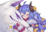 1girl absurdres ahoge blue_hair braid closed_eyes closed_mouth curled_horns fur_collar highres horns kindred lamb_(league_of_legends) league_of_legends long_hair long_sleeves looking_at_another meowlian puffy_sleeves shirt simple_background spirit_blossom_kindred white_background white_shirt wolf wolf_(league_of_legends)