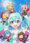 2boys 4girls \m/ ^_^ blonde_hair blue_eyes blue_hair blue_neckwear brown_hair chibi closed_eyes commentary_request fuusen_neko green_eyes hatsune_miku highres kagamine_len kagamine_rin kaito long_hair megurine_luka meiko midriff multiple_boys multiple_girls navel necktie pink_hair red_eyes short_hair twintails vocaloid