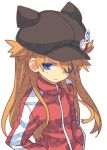 1girl black_headwear blue_eyes closed_mouth eyepatch hat hat_pin jacket long_sleeves looking_at_viewer neon_genesis_evangelion one_eye_covered orange_hair red_jacket shikinami_asuka_langley shirabi simple_background solo souryuu_asuka_langley upper_body white_background