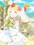 bare_shoulders blonde_hair blue_ribbon blue_sky blush bouquet cliff closed_eyes clouds clover comfey crying cutiefly dress earrings elbow_gloves flabebe flower gen_6_pokemon gen_7_pokemon gloves gold_trim hair_flower hair_ornament happy_tears highres hill jewelry lillie_(pokemon) long_hair orange_flower petals pink_flower pinpati26 pokemon pokemon_(creature) pokemon_(game) pokemon_sm red_flower ribbon sky tears veil wedding_dress white_dress white_gloves yellow_flower