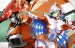 1990s_(style) 1girl armor belt belt_pouch blue_hair bodysuit breasts collarbone dennis_pulido energy_sword flame_(panzer_paladin) gloves helmet holding holding_weapon impossible_bodysuit impossible_clothes large_breasts long_hair looking_at_viewer mecha multicolored multicolored_bodysuit multicolored_clothes orange_bodysuit outstretched_arm paladin_(panzer_paladin) panzer_paladin pouch shoulder_armor skindentation skirt sword thigh_gap visor weapon whip_sword white_bodysuit white_gloves