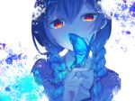 1girl bangs blue_butterfly blue_hair blue_theme blush bow braid hair_between_eyes hair_bobbles hair_ornament hairclip idolmaster idolmaster_shiny_colors index_finger_raised long_hair looking_at_viewer morino_rinze paint_splatter red_eyes signature simple_background solo sorano_eika twin_braids white_background white_bow white_neckwear