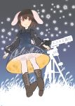 1girl :d absurdres animal_ears black_blouse blouse blue_dress blush boots brown_footwear brown_hair cross-laced_footwear dress highres inaba_tewi inazakura00 lace-up_boots long_sleeves looking_at_viewer open_mouth pantyhose rabbit_ears red_eyes short_hair sky smile solo star_(sky) star_(symbol) starry_sky telescope touhou white_legwear