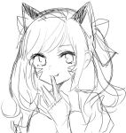 1girl bangs closed_mouth commentary_request d.va_(overwatch) facial_mark fang greyscale hair_ribbon hand_to_own_mouth kawaii_rowa lineart looking_at_viewer monochrome portrait ribbon simple_background smile solo swept_bangs undertale whisker_markings