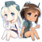 2girls blonde_hair blue_eyes blush brown_eyes brown_hair chibi commentary_request cosplay cropped_jacket eyebrows_visible_through_hair garrison_cap hair_ornament hairclip hat i-401_(kantai_collection) i-401_(kantai_collection)_(cosplay) kantai_collection long_hair looking_at_viewer military military_uniform multiple_girls one-piece_swimsuit open_mouth ponytail puffy_sleeves sailor_collar shirt short_hair side-tie_shirt simple_background sitting sleeveless sleeveless_shirt swimsuit swimsuit_under_clothes tan tousaki_shiina u-511_(kantai_collection) u-511_(kantai_collection)_(cosplay) uniform