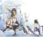 1girl animal arknights beak_mask bird black_coat black_hair clothed_animal coat drone gold_necklace green_sweater highres ice_skates igloo jewelry kazana_(sakuto) long_sleeves magallan_(arknights) mask mask_around_neck multicolored_hair necklace penguin rhine_lab_logo ribbed_sweater short_hair skates snow snow_shelter streaked_hair sunglasses sweater the_emperor_(arknights) turtleneck turtleneck_sweater two-tone_hair whistle white_hair yellow_eyes