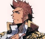 1boy beard blue_eyes brown_hair chest close-up collar epaulettes facial_hair fate/grand_order fate_(series) fringe_trim goatee highres jacket long_sleeves male_focus military military_uniform muscle napoleon_bonaparte_(fate/grand_order) ogata_tomio open_clothes open_jacket scar sideburns simple_background unbuttoned uniform
