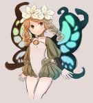 1girl blonde_hair braid butterfly_wings commentary cowboy_shot flower grey_background hair_flower hair_ornament highres inazakura00 leotard long_sleeves looking_at_viewer mercedes odin_sphere parted_lips pointy_ears puffy_long_sleeves puffy_sleeves red_eyes simple_background solo standing twin_braids white_flower wings