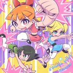 3girls bangs black_hair blonde_hair blossom_(ppg) blue_eyes bubbles_(ppg) buttercup_(ppg) clenched_hand eyebrows_visible_through_hair green_eyes kicking midriff multiple_girls navel open_hand open_mouth orange_hair powerpuff_girls punching red_eyes sunafuki_tabito twintails v-shaped_eyebrows