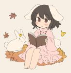 1girl :3 animal_ears barefoot black_hair blush_stickers book bunny_tail chibi closed_mouth dress grey_background holding inaba_tewi inazakura00 leaf leaf_on_head long_sleeves maple_leaf open_book pink_dress rabbit rabbit_ears reading red_eyes simple_background sitting smile solo tail touhou wide_sleeves