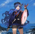 1girl animal asari_nanami bangs bare_legs black_gloves black_shorts black_vest blue_eyes blue_hair blue_jacket blue_sky blunt_bangs commentary_request feet_out_of_frame fingerless_gloves fish fish_hair_ornament fishing_rod gloves hair_ornament hair_rings highres holding holding_animal holding_fish holding_fishing_rod idolmaster idolmaster_cinderella_girls jacket long_hair long_sleeves looking_at_viewer lunch_(lunchicken) open_mouth short_shorts shorts sky solo standing turtleneck upper_teeth vest
