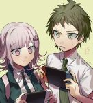 1boy 1girl backpack bag bangs beige_background breasts brown_hair commentary_request crown_print danganronpa eyebrows_visible_through_hair face flipped_hair frown green_jacket green_neckwear hair_ornament hairclip handheld_game_console highres hinata_hajime holding holding_handheld_game_console huyuharu0214 jacket large_breasts looking_down nanami_chiaki neck_ribbon necktie nintendo_switch open_mouth pink_eyes pink_hair ribbon shirt short_hair short_sleeves smile super_danganronpa_2 upper_body white_shirt wing_collar