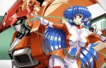1990s_(style) armor belt belt_pouch blue_eyes blue_hair bodysuit breasts collarbone dennis_pulido energy_sword flame_(panzer_paladin) gloves holding holding_weapon impossible_bodysuit impossible_clothes large_breasts long_hair looking_at_viewer mecha multicolored multicolored_bodysuit multicolored_clothes no_headwear no_helmet orange_bodysuit outstretched_arm paladin_(panzer_paladin) panzer_paladin pouch shoulder_armor skindentation skirt sword thigh_gap weapon whip_sword white_bodysuit white_gloves
