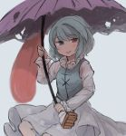 1girl :p blue_eyes blue_hair blue_vest blush dress geta heterochromia highres holding holding_umbrella inazakura00 juliet_sleeves long_sleeves looking_at_viewer puffy_sleeves red_eyes smile solo tatara_kogasa tongue tongue_out touhou umbrella vest white_background white_dress