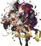 1boy 1girl bangs blonde_hair boots detached_sleeves fire_emblem fire_emblem_fates fire_emblem_heroes full_body grey_hair hat highres knee_boots long_sleeves official_art pants pirate_hat red_eyes red_legwear skirt thigh-highs transparent_background veronica_(fire_emblem) xander_(fire_emblem) zettai_ryouiki